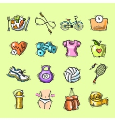 Fitness sketch colored icons set vector image