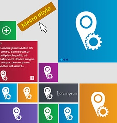 Map pointer setting icon sign metro style buttons vector