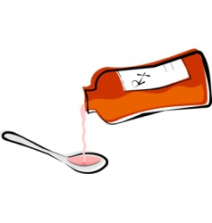 Liquid medicine in a spoon vector