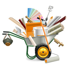 Wheelbarrow with painting tools vector