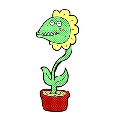 Comic cartoon monster plant vector