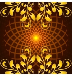 Glowing orange mandala with floral ornament vector