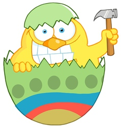 Easter chick holding a hammer vector