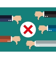 Cartoon businessmans hands hold thumbs down vector