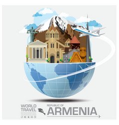 Armenia landmark global travel and journey vector