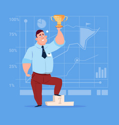 Business man hold prize winner cup success vector