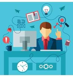 Business man in formal suit sitting at the desk vector