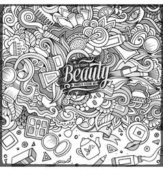 Cartoon doodles cosmetics frame design vector