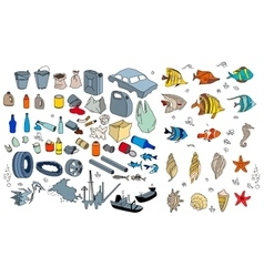 Different kinds of garbage in oceans sea vector image