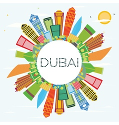 Dubai skyline with color buildings blue sky vector