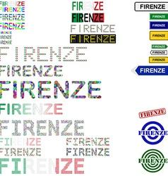 Firenze text design set vector
