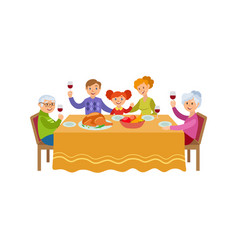 Flat family celebrating christmas holiday vector