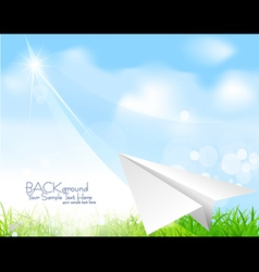 flying paper plane background vector image vector image