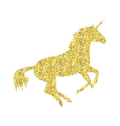 Gold unicorn mythical horse vector
