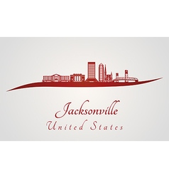 Jacksonville skyline in red vector image
