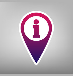 Map pointer with information sign purple vector
