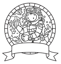 Oceanographer or diver coloring book or emblem vector