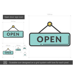 Open door sign line icon vector
