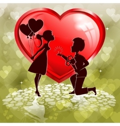 Red heartoutlines of two lovers vector image vector image