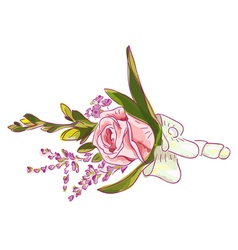rose with silk ribbon and meadow flowers vector image vector image