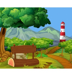 Scene with forest and lighthouse vector