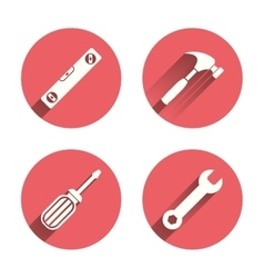 Screwdriver and bubble level hammer vector image