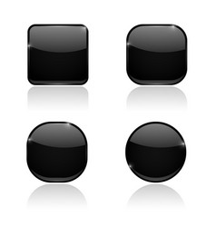 set of black buttons web shiny 3d icons vector image vector image