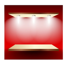 Shelf with lights on red wall vector image