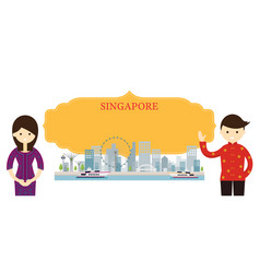 singapore landmarks people traditional clothing vector image