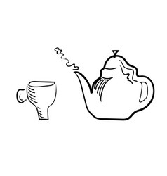 teacup and brewing teapot on a white background vector image vector image