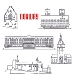 Travel sights of Norway icon in thin line style vector image vector image