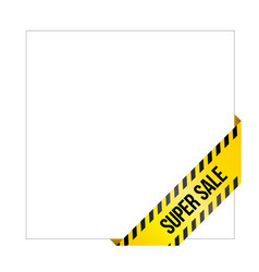 yellow caution tape with words super sale vector image vector image