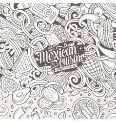 Cartoon mexican food doodles vector