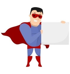 Super hero holding sign at his side vector