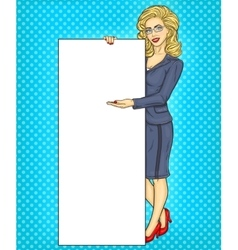 Pop art business woman showing some information vector image