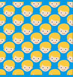 Boy face seamless pattern expression cute teenager vector