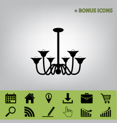 Chandelier simple sign  black icon at gray vector