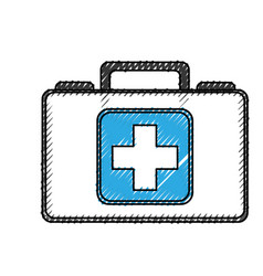 Scribble medical bag cartoon vector