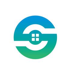 Circle home building logo vector