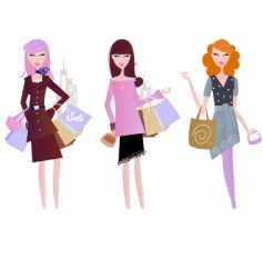 Sexy women shopping vector