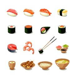 Asia food icon set vector