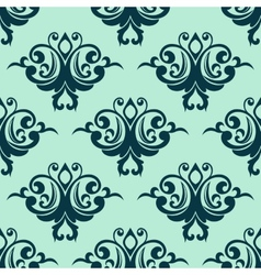 Damask style seamless pattern in blue vector