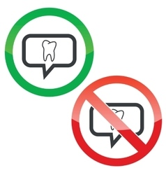 Tooth message permission signs vector