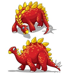 Dinosaur in red color vector
