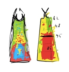 Sewing dress sketch for your design vector