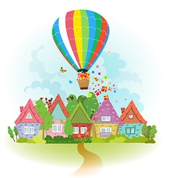 Hot air balloon over the city with gifts vector