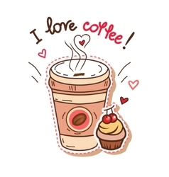coffee and cupcake vector image