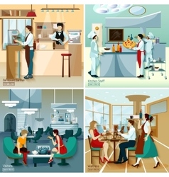 Restaurant people 2x2 design concept vector