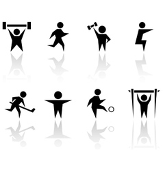 Athlete man set with reflection vector