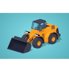 Low poly yellow heavy bulldozer vector